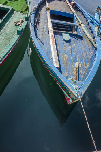 High angle view of boat moored in canal