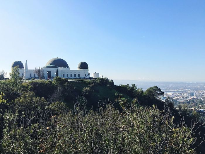 Griffith Observatory Architecture Sea Dome Built Structure Building Exterior Water Blue Clear Sky Place Of Worship Travel Destinations Plant Horizon Over Water Tree Scenics Outdoors No People Nature Sky Beauty In Nature Day La Los Angeles, California Observatory Iphonephotography