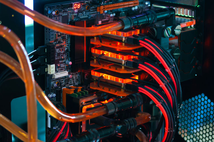 Close-up of wires on computer motherboard
