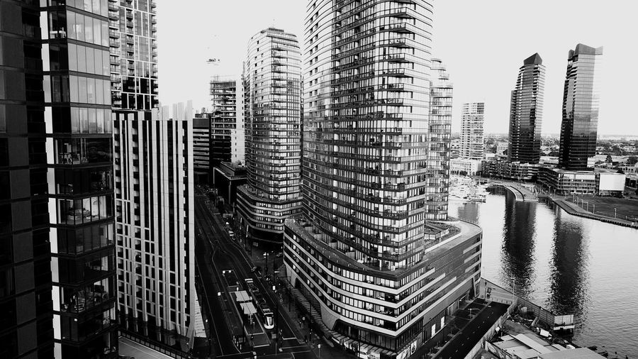 In A Row Building Blackandwhite Monochrome Lines And Shapes Architectural Detail Buildings And Sky Australia River Docklands Drone  Melbourne Built Structure Building Exterior Architecture City Building Office Building Exterior Sky Skyscraper Tall - High Cityscape Modern Tower Development Financial District  Urban Skyline Residential District Outdoors Day