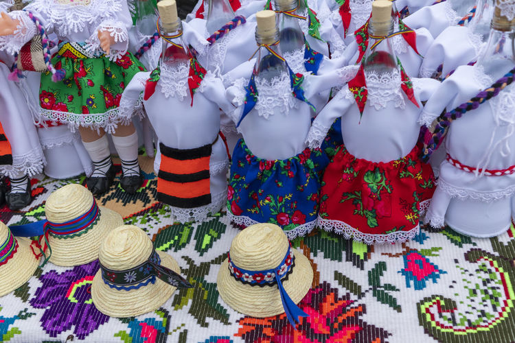 Full frame shot of multi colored dressed for sale at market