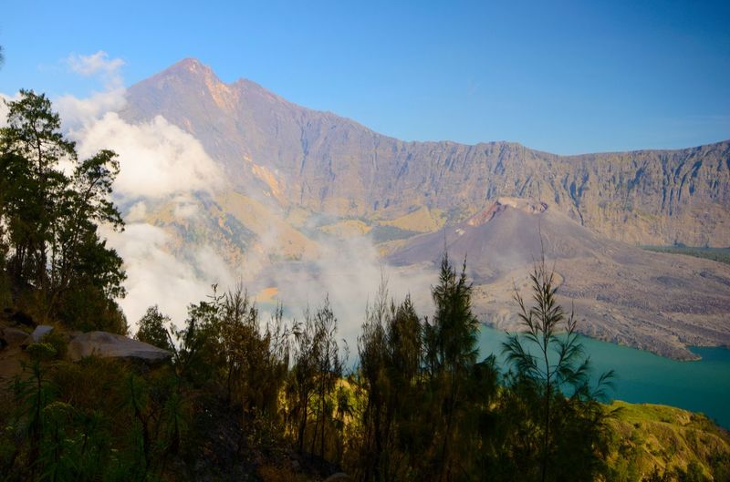 Beautiful nature background at Segara Anak Lake. Mount Rinjani is an active volcano in Lombok, indonesia. Soft focus due to long exposure. Rinjani National Park Nature Amazing View Wallpaper INDONESIA Backpacking Travel Scenic Landscapes Ilovenature Ilovephotography EyeEm EyeEm Best Shots EyeEm Nature Lover Tree Mountain Forest Flower Sky Landscape Volcanic Landscape Pine Tree Volcanic Crater Pine Woodland Active Volcano