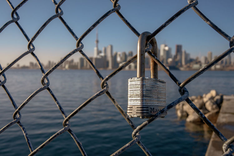 Toronto skyline behind fence Fence Metal Focus On Foreground Barrier Architecture Water Built Structure Security Chainlink Fence Protection No People Day Cityscape Skyscraper Close-up City Toronto Sunshine Blue Sky Locked Lock
