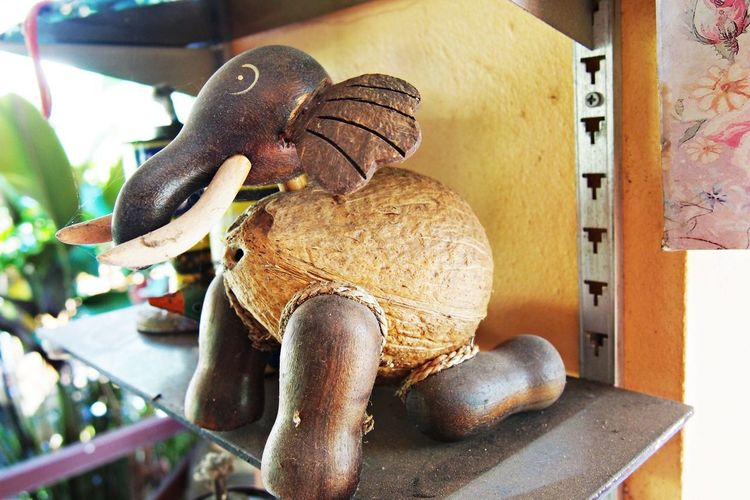 Elephant dolls made from coconut shell. Coconut Shell Art And Craft Creativity Close-up Sculpture Toy Focus On Foreground No People Brown Indoors  Elephant Elephant Doll