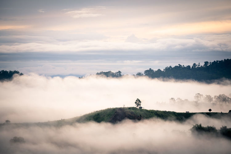 White mist with early sunrise over the hill in rainy season of thailand
