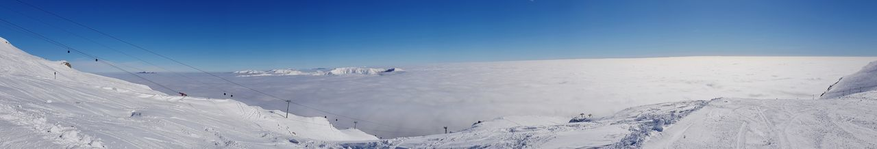 Winter snowy mountain panorama above the clouds Clouds And Sky Cloudscape Above The Clouds EyeEm Selects Snow Cold Temperature Sky Snowcapped Mountain Mountain Range Mountain Snowcapped Ski Track