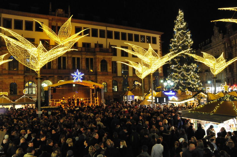 Public Places Weihnachtsmarkt Wiesbaden Sternschnuppenmarkt Weihnachten Beleuchtung Lilien Christmas Christmas Market Verkaufsbude Weihnachtsbaum Christmas Tree Weihnachtsdekoration Deko Dekoration Christmas Decoration Lily Illuminated Gelb Yellow Golden Leuchtgirlande Girlande Lighting Chain Rathaus Wiesbaden Marktplatz Veranstaltung Event Fest Weihnachten Stimmung Illuminated Night Large Group Of People Celebration Christmas Crowd Christmas Lights Outdoors City