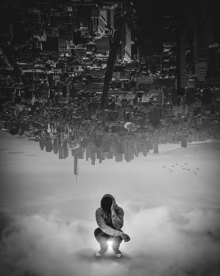 Dreaming Dream New York Architecture Building Building Exterior Built Structure City Clothing Contemplation Day Digital Composite Full Length Leisure Activity Lifestyles Nature One Person Outdoors Real People Reflection Sitting Warm Clothing Water
