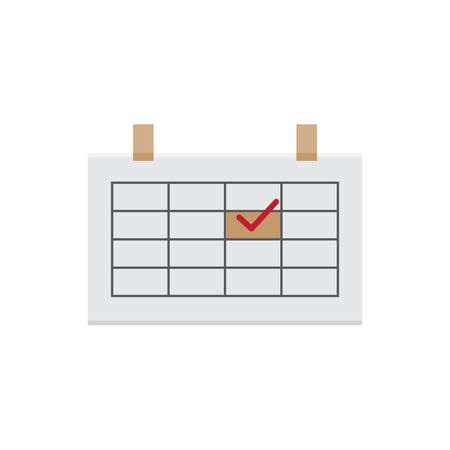 Flat calendar vector icon Isolated on white background Design Graphic Illustration Isolated Symbol Business Date Icon Organizer Plan Schedule Sign Calendar Chart Day Graph Growth Month Number Page Paper Symbol Time Web White Background