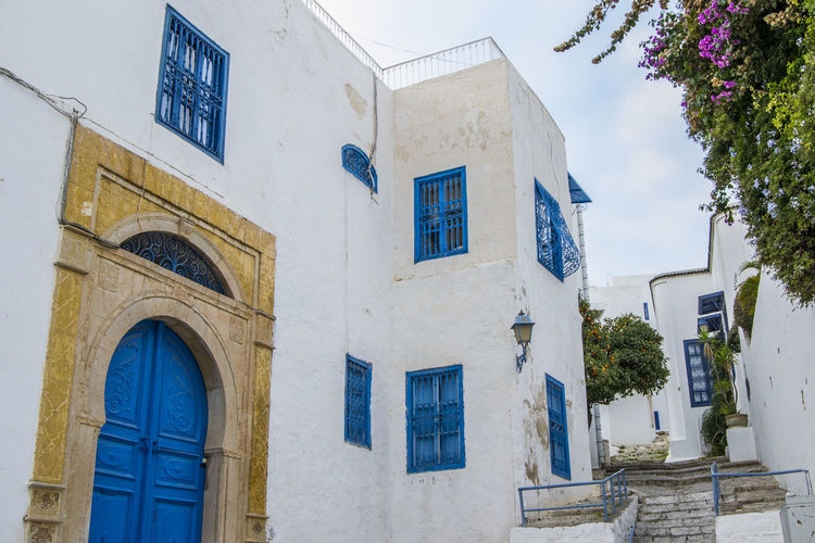 Sidi Bou Saïd houses Sidi Bou Said Tunis Tunisia Architecture Blue Building Exterior Built Structure Day Door Low Angle View No People Outdoors Sky Tunisie Window