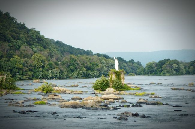 It took 25 years to solve this mystery. Dauphin Borough, Pennsylvania Statue of Liberty replica in the middle of Susquehanna River on top of a railroad pier. Statue River Pennsylvania Liberty Remote Standing Rocks In River Outdoors No People Dauphin, Pa Dauphin Water Fast Shot Beauty In Nature White Color Travel Photography Traveling Trees