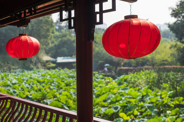 Red lanterns hanging on roof in balcony