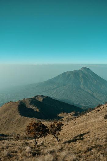 Merbabu mountain national park with view merapi mountain, indonesia