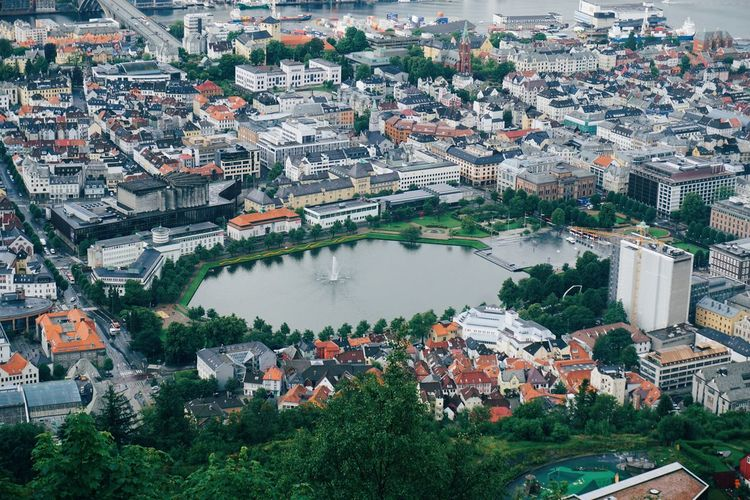 High angle view of buildings in the city of bergen