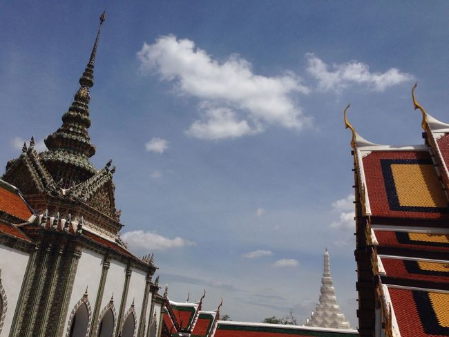 Architectural Feature Architecture Blue Built Structure Capital Cities  Cloud Cloud - Sky Cloudy Culture Day High Section Low Angle View No People Outdoors Sky Tall - High Temple - Building Thailand The Architect - 2016 EyeEm Awards Tilt Tourism Travel Destinations