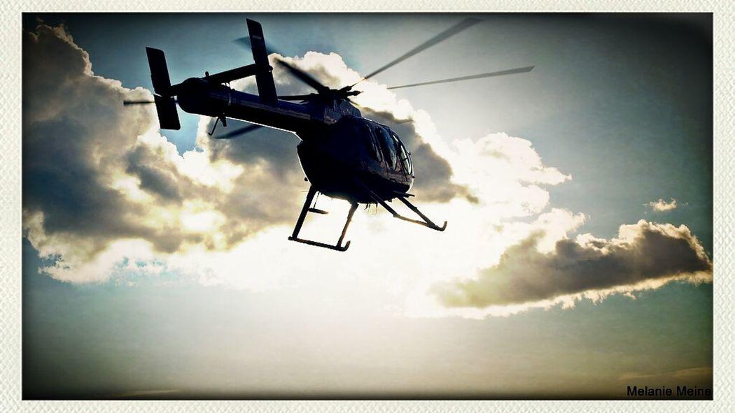 Clouds Flying Sky Sonnenuntergang Transportation Sunny Hubschrauber  Crange  Fliegen Cranger Kirmes  Herne