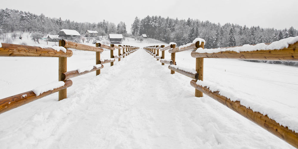 Pathway Amidst Railing On Snow Covered Field