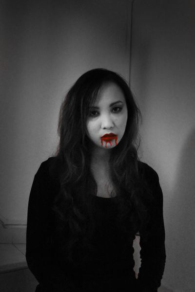 Black And White Blackandwhite Blood BLOODY Front View Girl Halloween Horror Looking At Camera Mouth Stairs Woman Zombie