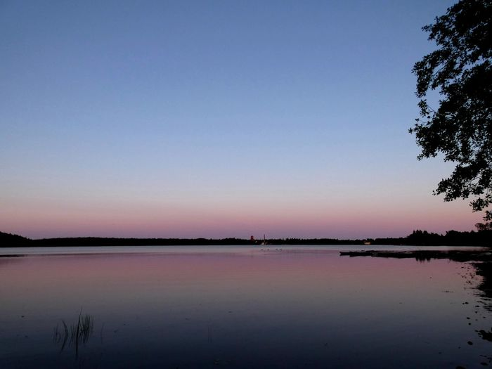 Finland Littoisten Järvi Evening Water Tree Lake Sunset Reflection Clear Sky Blue Sky Landscape Calm
