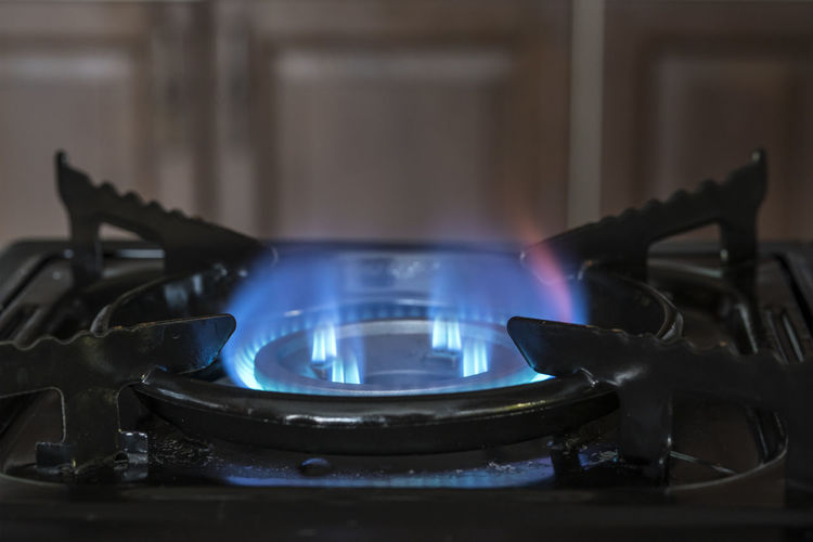blue gas burns on the stove Appliance Blue Burner - Stove Top Burning Close-up Domestic Kitchen Domestic Room Fire Fire - Natural Phenomenon Flame Fuel And Power Generation Gas Stove Burner Heat - Temperature Home Household Equipment Indoors  Kitchen Metal Natural Gas No People Stove