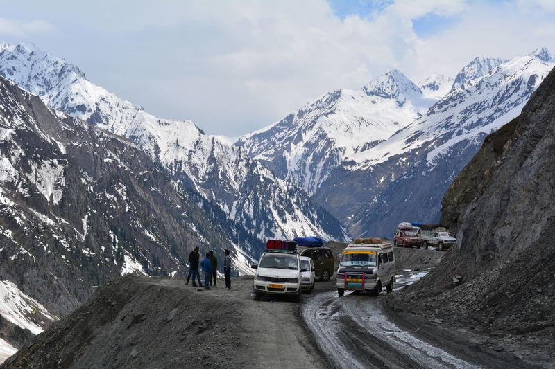 Himalayan road. Road Himalayanexpressway High Way Tough Summer Snow Trucks Mountain Mountain Range Traveling Daytime Driving