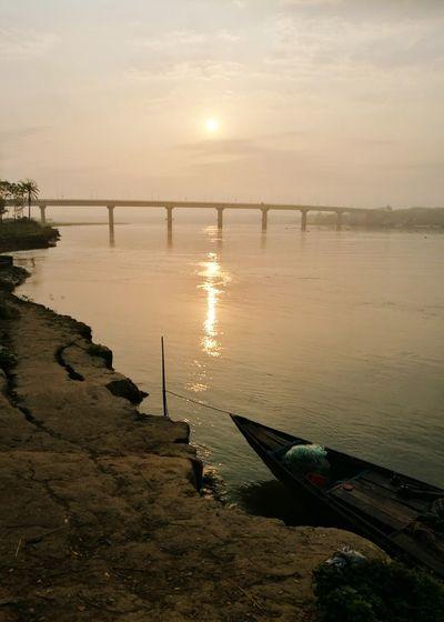 Sunrise Horizon Over Water Water Landscape Beautiful Bangladesh No People