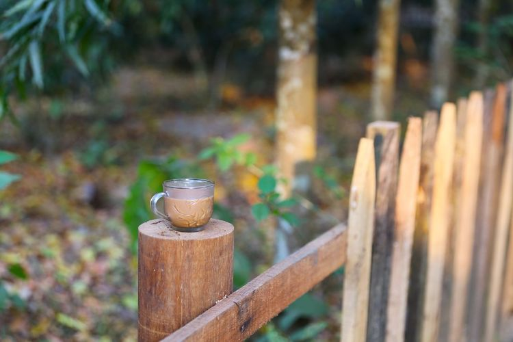 Tea Cup On Wooden Railing Over Field