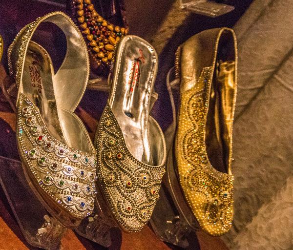 Arabian Fashion Arabian Shoes Close-up Day Footware Gold Colored High Angle View Indoors  No People Shiny Shoe Shoes Venetian Mask Womens Footwea