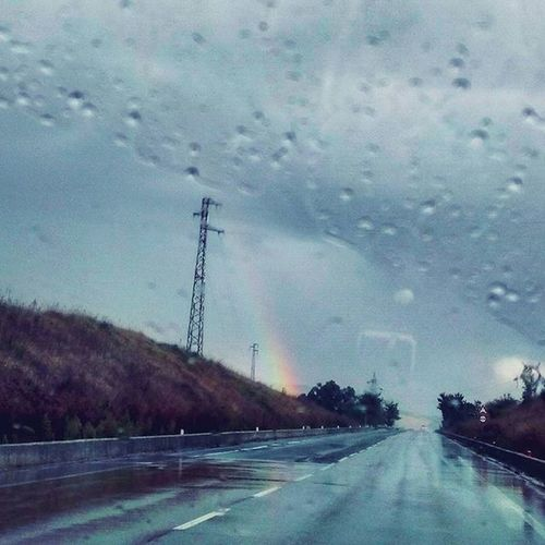 🚗 on the road . Ontheroad Car Comebackhome Umbria Marche Italia Italy Road Rain RainyDay Drops Rainbow Colors Nature Naturelovers Cloudy SkyClouds Lategram Igersumbria Igersmarche Igersitalia Landscape
