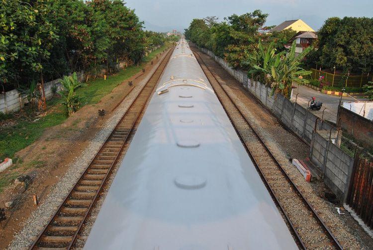 View of railroad tracks along plants
