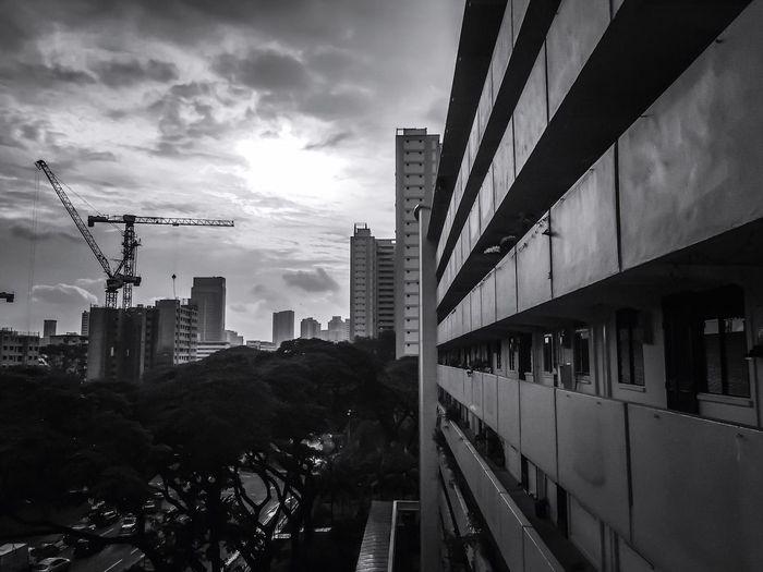 [ My Neighbourhood ] Community Neighbor Black & White Black And White Photography B&w Sunset Singapore City Life City Living IPhoneography Iphoneonly IPhone Photography Iphone6 The City Light