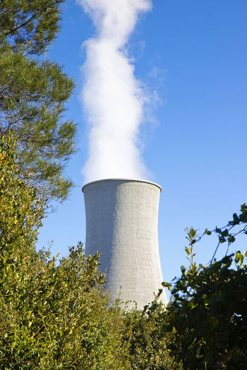 Sky Plant Low Angle View Day Nature Industry No People Tree Factory Smoke - Physical Structure Fuel And Power Generation Environmental Issues Pollution Blue Outdoors Sunlight Cooling Tower Environment Smoke Stack Air Pollution