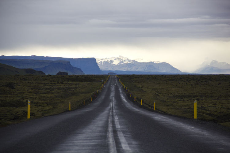 Mountain Direction Road The Way Forward Landscape Beauty In Nature Scenics - Nature Transportation Sky Environment Cloud - Sky Mountain Range Tranquil Scene Tranquility Diminishing Perspective Nature Non-urban Scene No People Day Outdoors Snowcapped Mountain Long Dividing Line