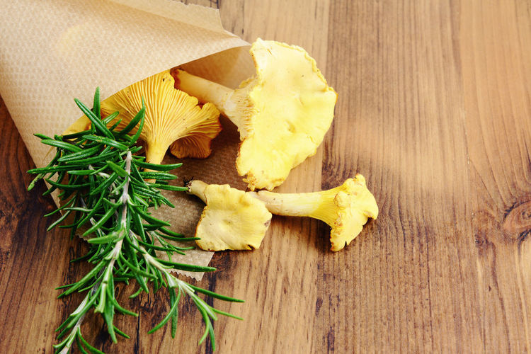 Golden Chanterelle mushrooms on wooden table background. spice like rosemary aside. Chanterelle Chanterelle Mushrooms Chanterelles Close-up Day Food Freshness Golden Chanterelle Green Color Mushroom Mushrooms Nature No People Still Life Wood - Material Wooden