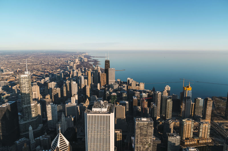Chicago way UP Building Exterior Sky Architecture Built Structure City Cityscape Office Building Exterior Skyscraper Water Building Sea Nature Tall - High Modern Residential District No People High Angle View Horizon Horizon Over Water Financial District  Development Outdoors