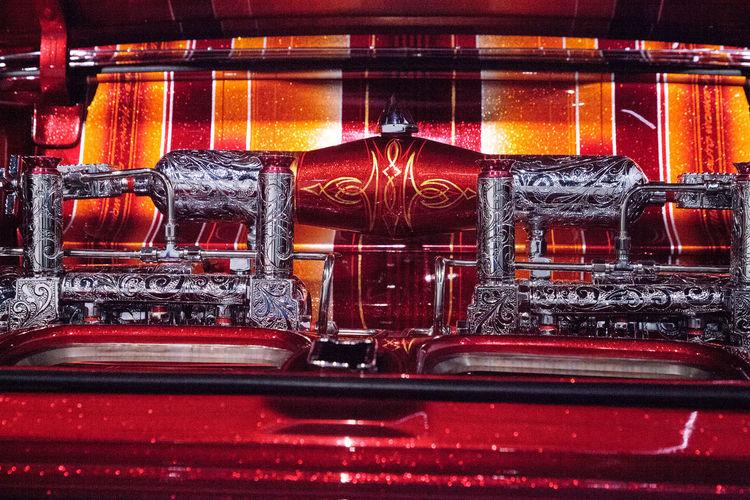 Los Angeles, CA, USA - July 23, 2017: El Rey candy colored lowrider 1963 Chevrolet Impala by artist Albert de Alba displayed at the Petersen Automotive Museum. Editorial use. 1963 Albert De Alba Antique Chicano Art Classic Car Classic Cars El Rey Impala Lowride Lowrider Candy Colored Paint Candy Paint Chevrolet Chevrolet ımpala Folk Art  Old Car Paint Job Painted Car Vintage Vintage Car
