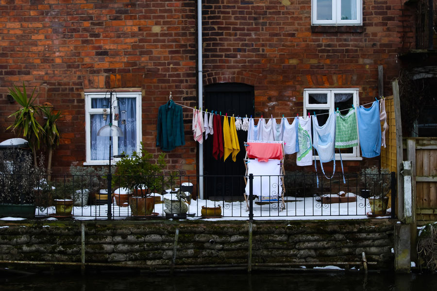 Something rather intriguing about washing hung out on a cold winter's morn. Edited Happy Natural Beauty Washing Aesthetic Building Exterior colour of life Hanging Lightroom Outdoors Textile Washing Line Window The Street Photographer - 2018 EyeEm Awards