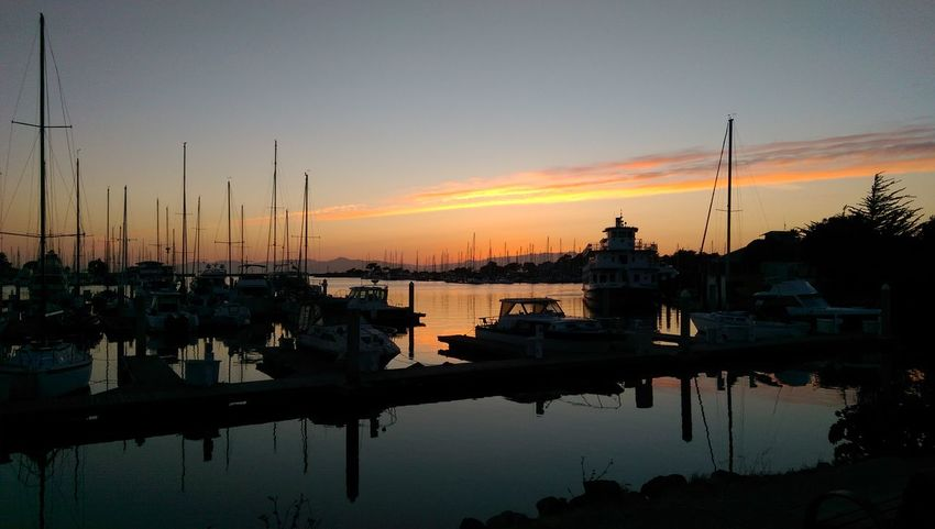 Sunset Water Reflection No People Outdoors Sky Colorful Orange Marina Boats