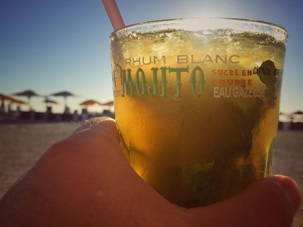 Mojitos Drink Refreshment Alcohol Close-up Human Hand Beach Freshness Drinking Glass