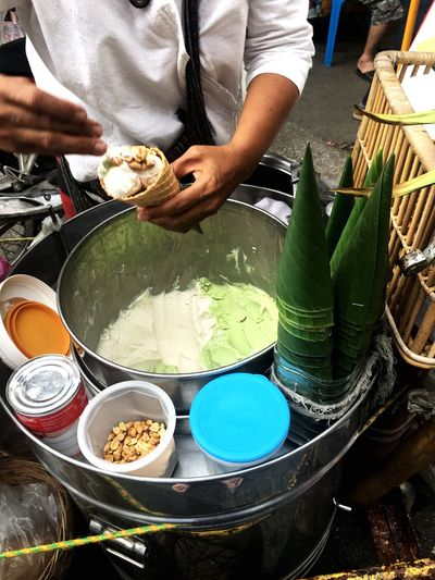 Thai style ice cream #thai Street Food #Thaifood #icecream #market #icecream Real People Preparation  One Person Food And Drink Midsection