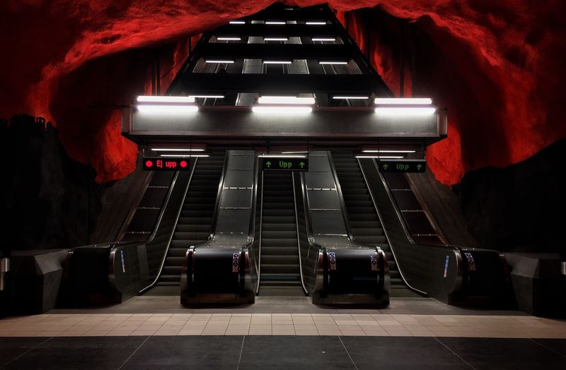 Stockholm T-Bana Series Indoors  Night People Escalators Escalatorporn Escalator Solna Stockholm, Sweden T Bana Tbana Stockholm Metro Station Metro Moving Walkway  Architecture The Way Forward Illuminated No People Staircase Escalators And Staircases The Architect - 2018 EyeEm Awards