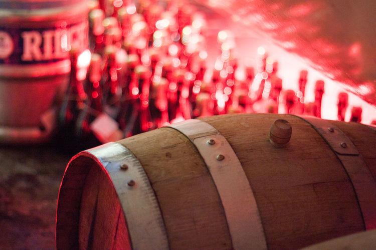 Close-up of wine barrel
