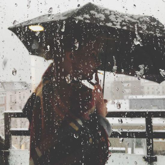 Snow ❄ Rain Smoking Smoking Girl Rain Wet Drop Weather Window One Woman Only Water