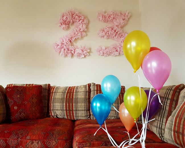Indoors  Multi Colored Group Of Objects Man Made Object No People 23 Birthday Birthday Party Balloons Couch