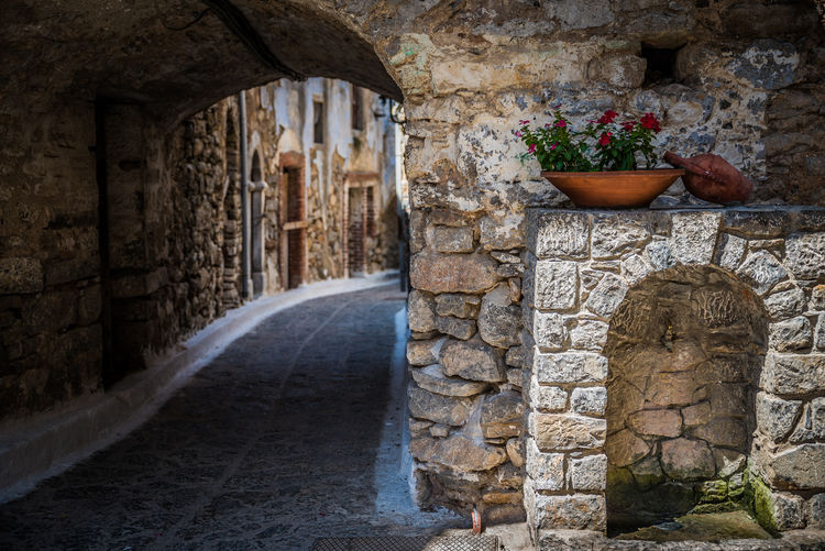 By Anna Wacker This photo was taken at the picturesque medieval village of Olympi, one of the twenty Mastichochoria, in southern Chios, Greece. Chíos, Greece Fountains Greek Islands Water Source Arch Architecture Building Building Exterior Built Structure Day Greek Island Architecture Greek Village History Medieval Town No People Old Plant Potted Plant Solid Stone Material Stone Wall Street Scenes The Past Traditional Architecture Wall