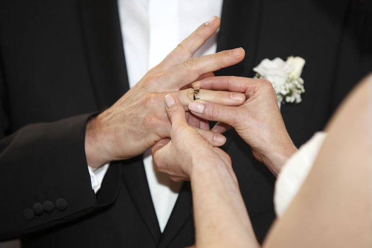 Close-Up Of The Hands Of A Couple At Wedding