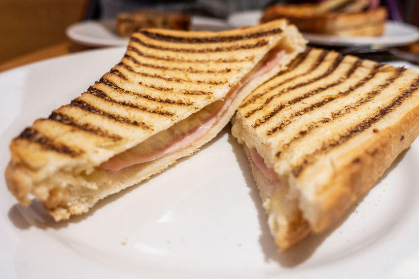 A ham and cheese toasted sandwich. Comfort Food Ham Lunch Bread Cheese Close-up Food Food And Drink Freshness Plate Ready-to-eat Selective Focus Snack Tasty Toasted Sandwich