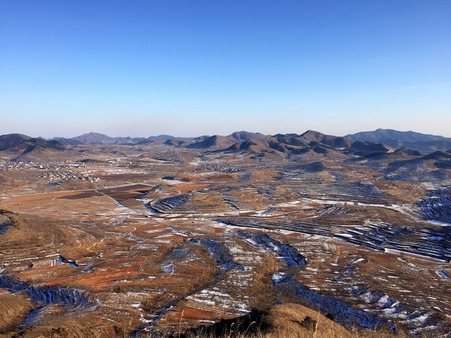 Hometown / Qianxi, Hebei Copy Space Landscape Tranquil Scene Scenics Nature Tranquility Clear Sky Barren Beauty In Nature Non-urban Scene Geology Extreme Terrain Day No People Physical Geography Outdoors Mountain Arid Climate Sky Winding Road Winter Snow Iphone6 IPhoneography Mobilephotography