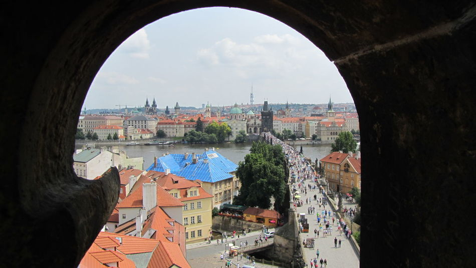 Prague Prague Bridge Tower View Panoramic People Travel Voyage Bridge River City Life Summer High Angle View Window