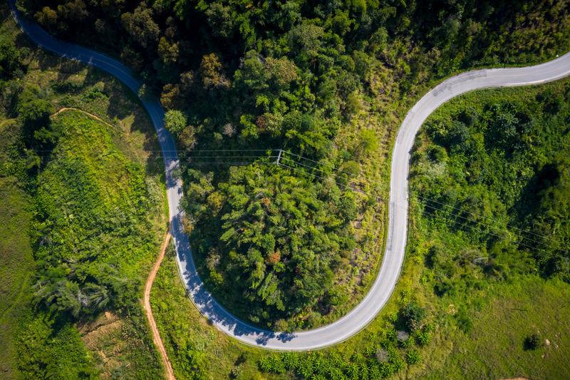 Aerial view mountain paths rural road between the city at doi chang chiang rai thailand